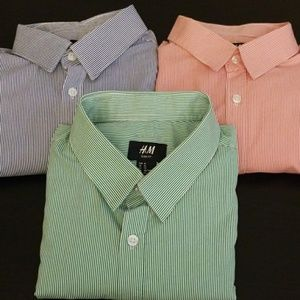 H&M men's long sleeve button down shirt lot of 3